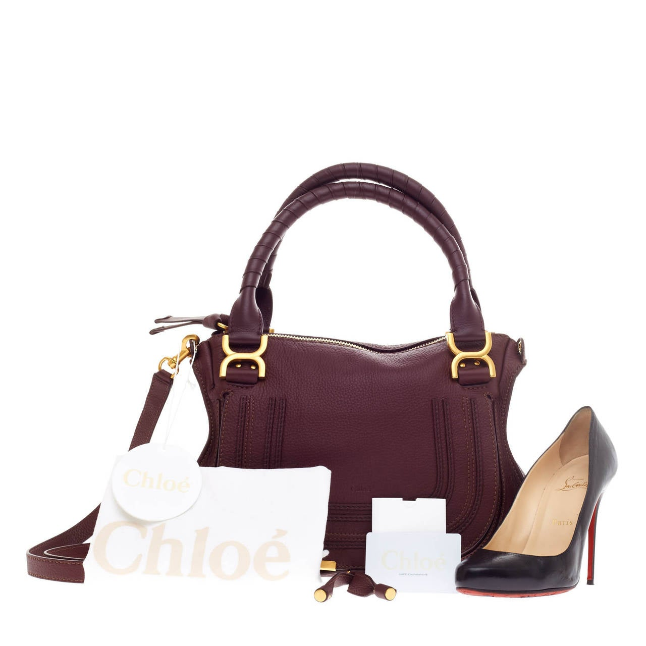 replica chloe marcie - Chloe Marcie Top Handle Bag with Strap Leather Medium at 1stdibs