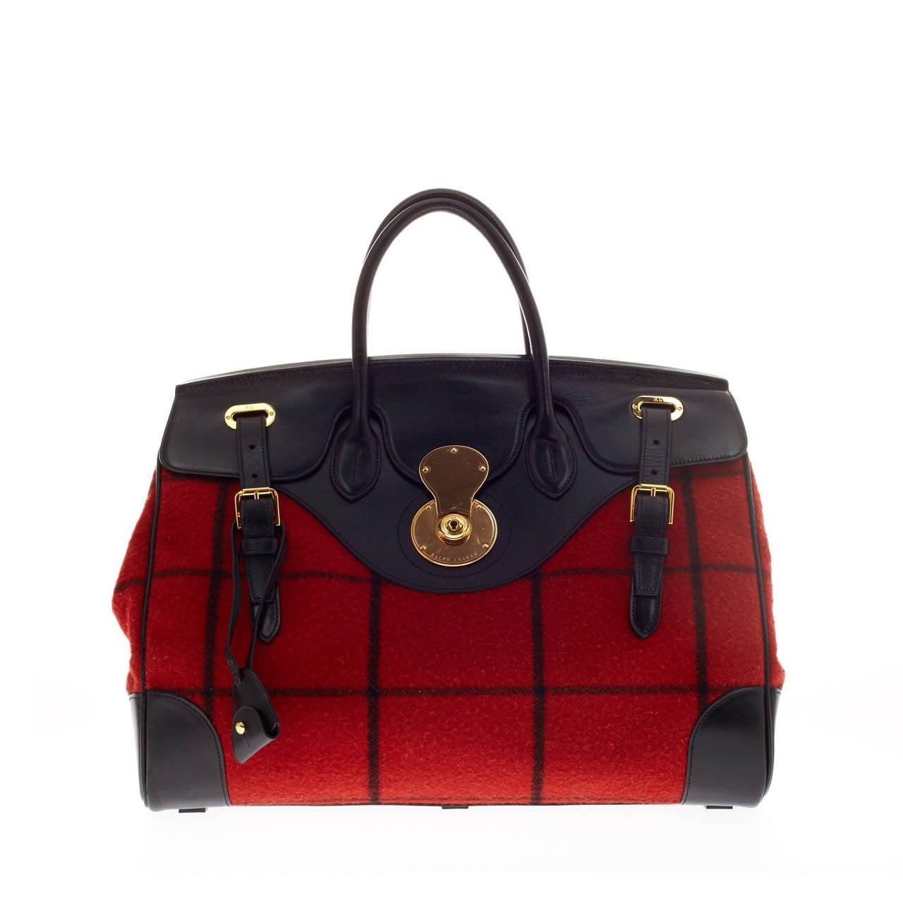 Ralph Lauren Pony Slim Handbag Red Canvas