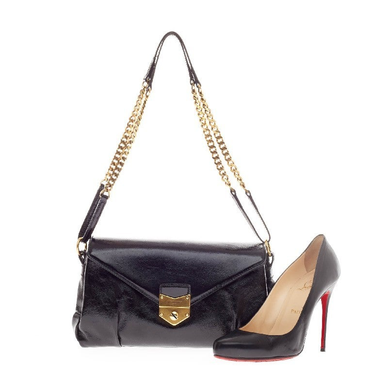 Saint Laurent Push Lock Flap Chain Bag Patent At 1stdibs