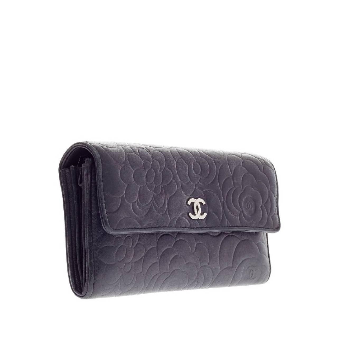 Chanel Flap Wallet Camellia Lambskin Long at 1stdibs