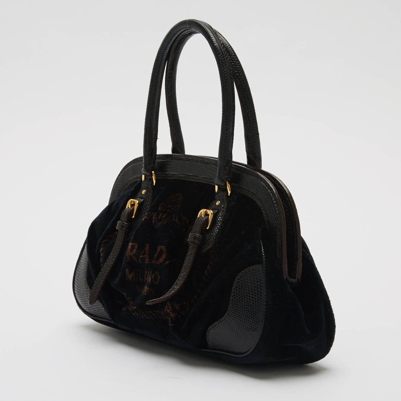 prada tessuto handbag - Prada Frame Bag Velvet With Leather Trim Small at 1stdibs