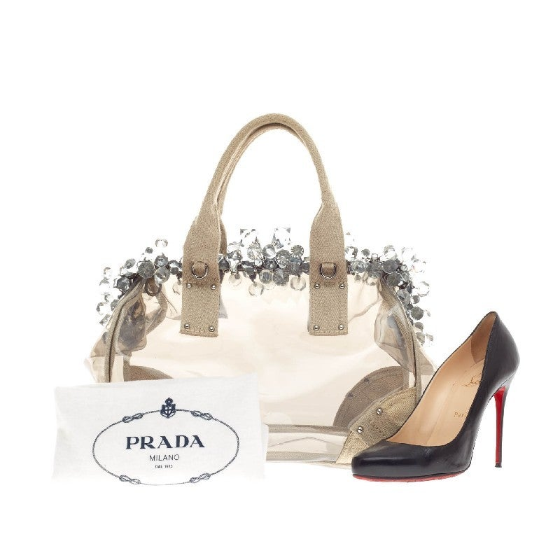 Prada Mistolino Crystal Tote Vinyl and Canvas at 1stdibs