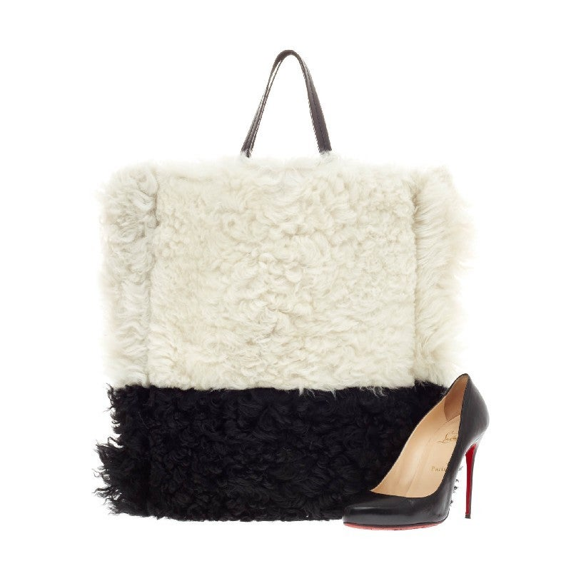 celine black shearling handbag cabas