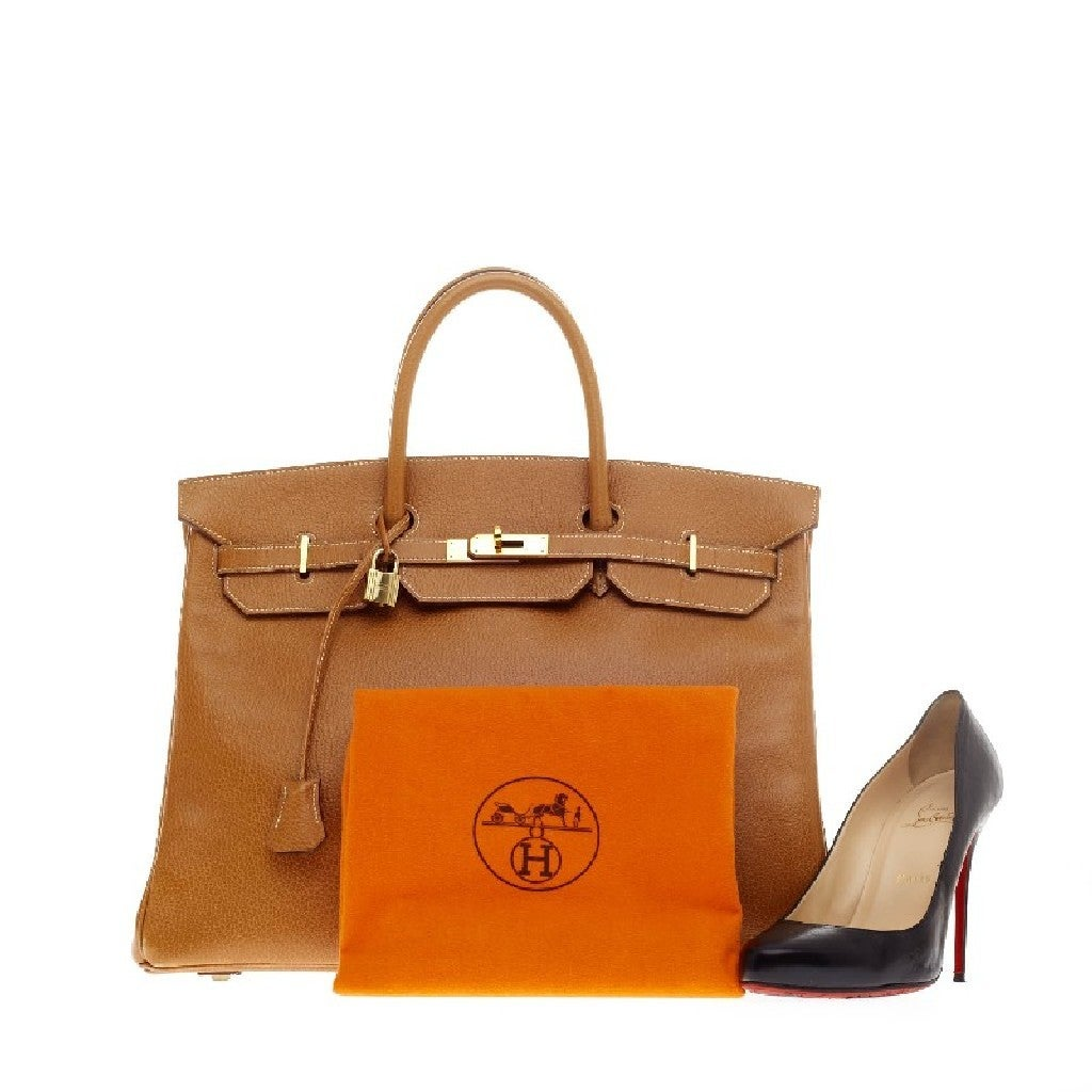 Hermes Birkin Natural Ardennes with Gold Hardware 40 2