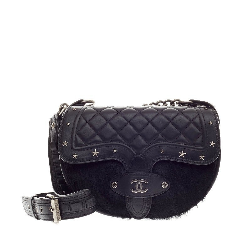 957ca9f19f25 Chanel Dallas Studded Saddle Bag Quilted Calfskin and Pony Hair In Good  Condition For Sale In