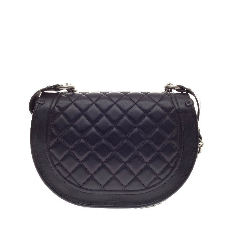 196b2f439250 Chanel Dallas Studded Saddle Bag Quilted Calfskin and Pony Hair For Sale 1