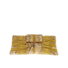 VBH Poche Cut-Out Flap Clutch in Python and Suede