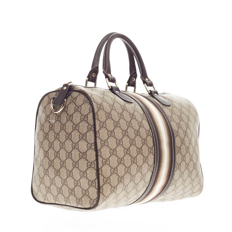 ed96393a8870 Gucci Joy Boston Bag GG Coated Canvas with Leather Trim Medium at 1stdibs