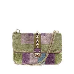 Valentino Glam Lock Shoulder Bag Rhinestones Medium