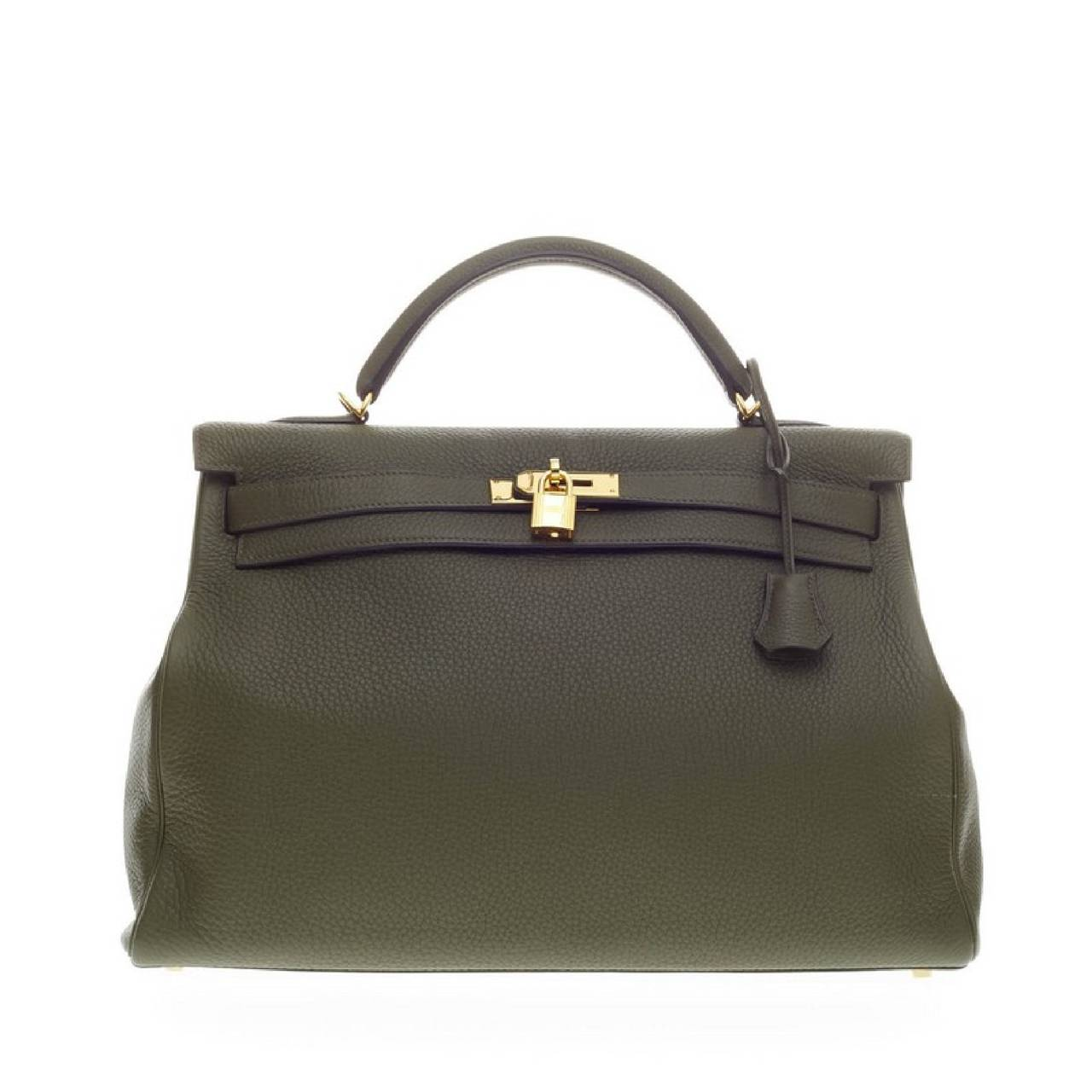 Hermes Kelly Vert Olive Clemence with Gold Hardware 40 1
