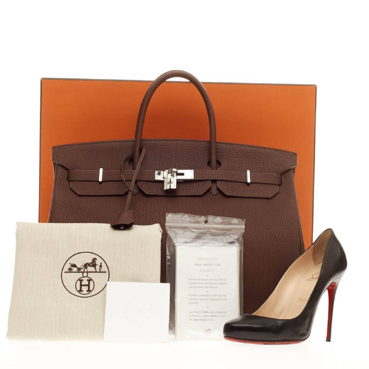 This authentic Hermes Birkin Marron Fonce Fjord with Palladium Hardware 40  stands as one of the 00dd020bf29