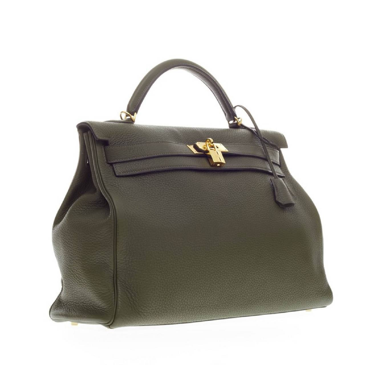 Hermes Kelly Vert Olive Clemence with Gold Hardware 40 3