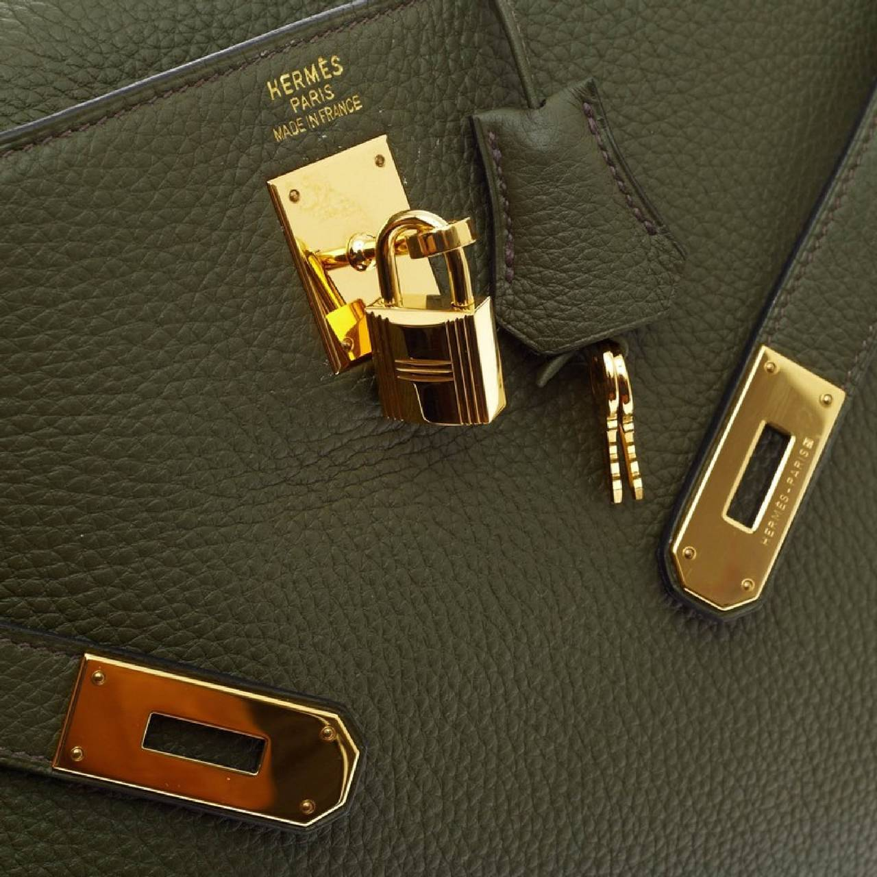 Hermes Kelly Vert Olive Clemence with Gold Hardware 40 6