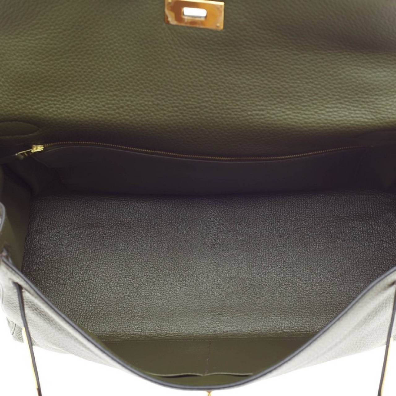 Hermes Kelly Vert Olive Clemence with Gold Hardware 40 7