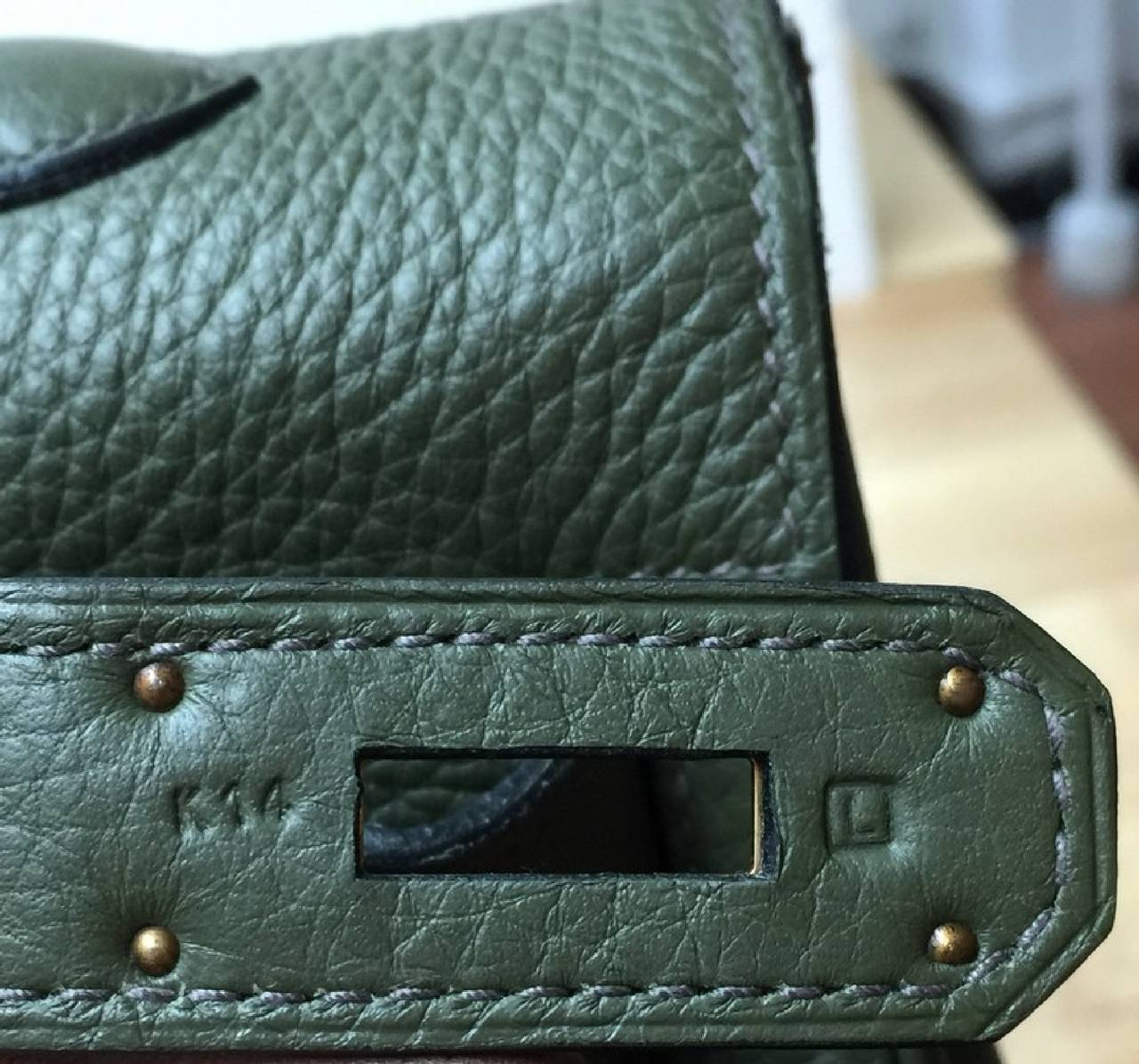 Hermes Kelly Vert Olive Clemence with Gold Hardware 40 8
