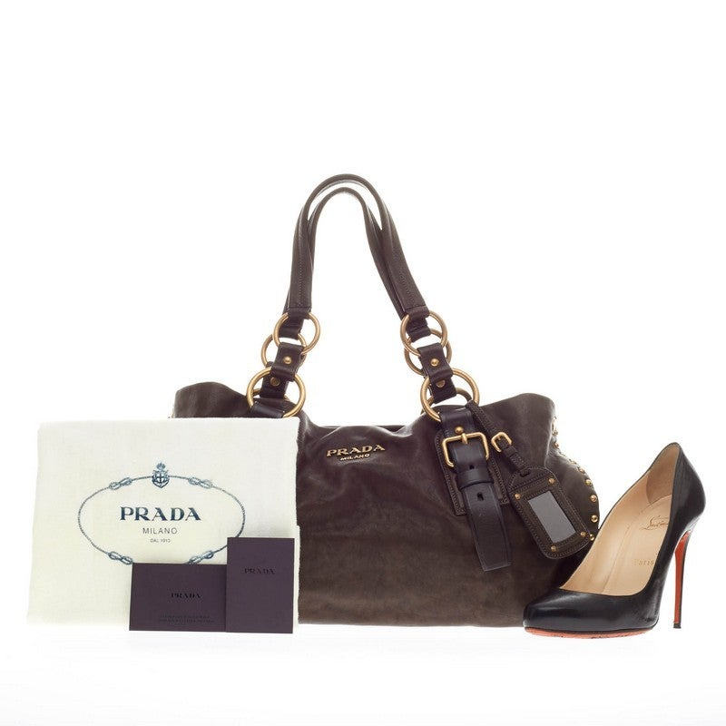 prada inspired handbag - Prada Aviator Shoulder Bag Studded Leather at 1stdibs