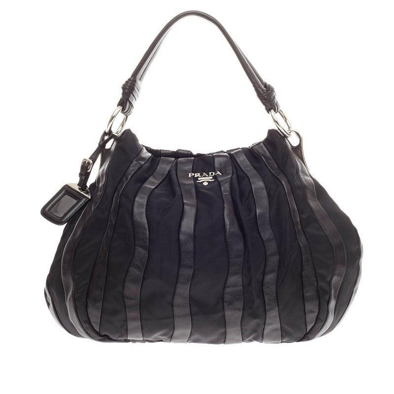 prada purse cheap - Prada Waves Shoulder Bag Leather and Tessuto Large at 1stdibs