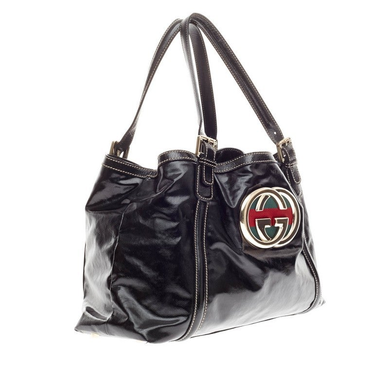 04a0de75f152 Gucci Dialux Britt Tote Patent In Good Condition For Sale In New York, NY