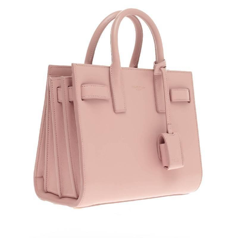 ysl monogramme crossbody - classic small sac de jour bag in pale blush leather