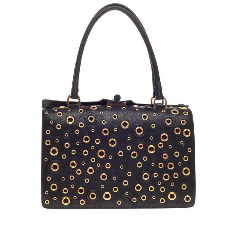 prada suitcase - Prada Grommet Top Handle Frame Bag Leather at 1stdibs