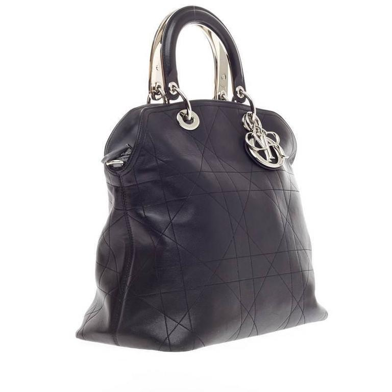 Christian Dior Granville Satchel Cannage Stitched Leather In Good Condition  For Sale In New York,
