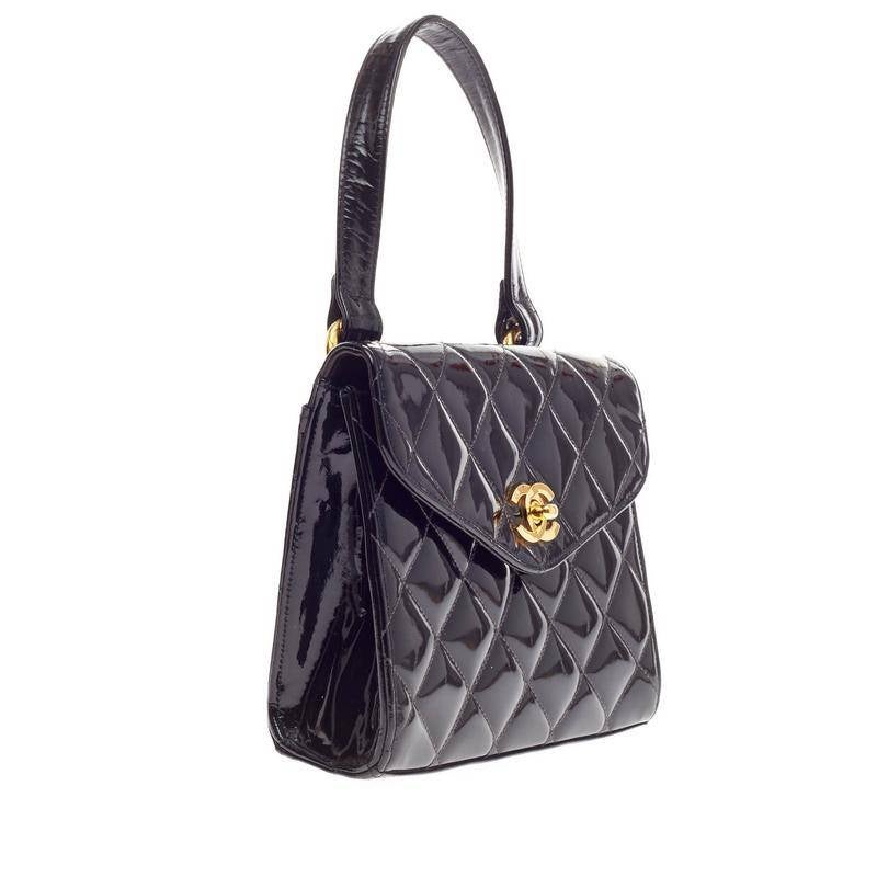5b1fc2470afd Chanel Vintage Box Flap Bag Quilted Patent Small at 1stdibs