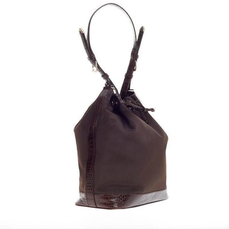f61de2dfd43f Black Ralph Lauren Drawstring Bucket Bag Nylon and Crocodile For Sale
