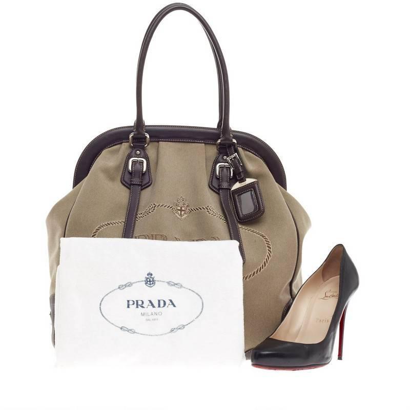 prada shoulder purse - Prada Canapa Frame Shoulder Bag Canvas Large at 1stdibs