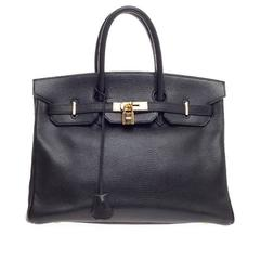 Hermes Birkin Black Ardennes with Gold Hardware 35