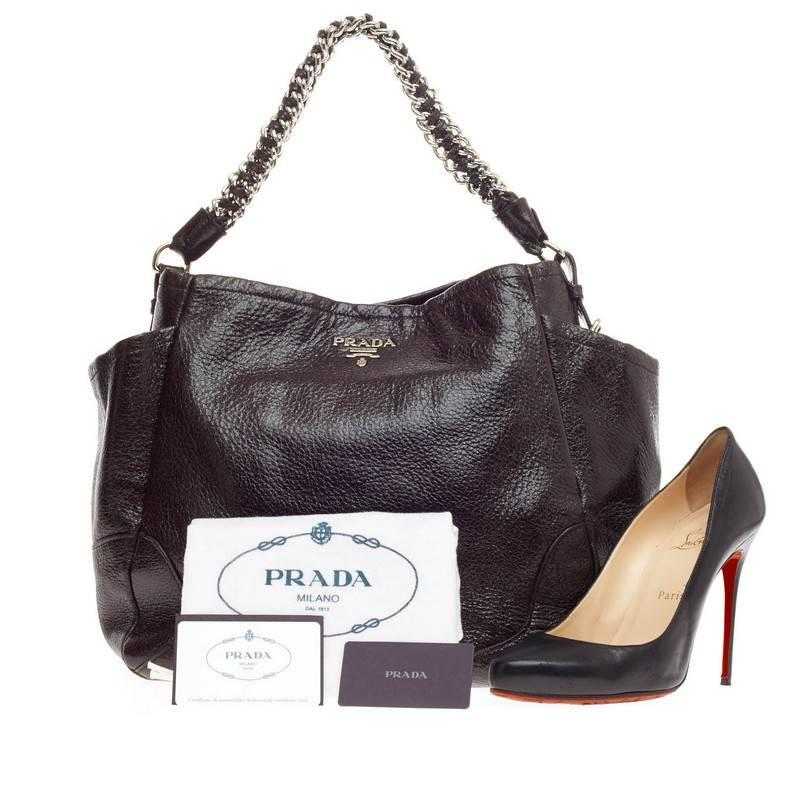 fake prada bags to buy - Prada Chain Side Pocket Hobo Vitello Shine at 1stdibs