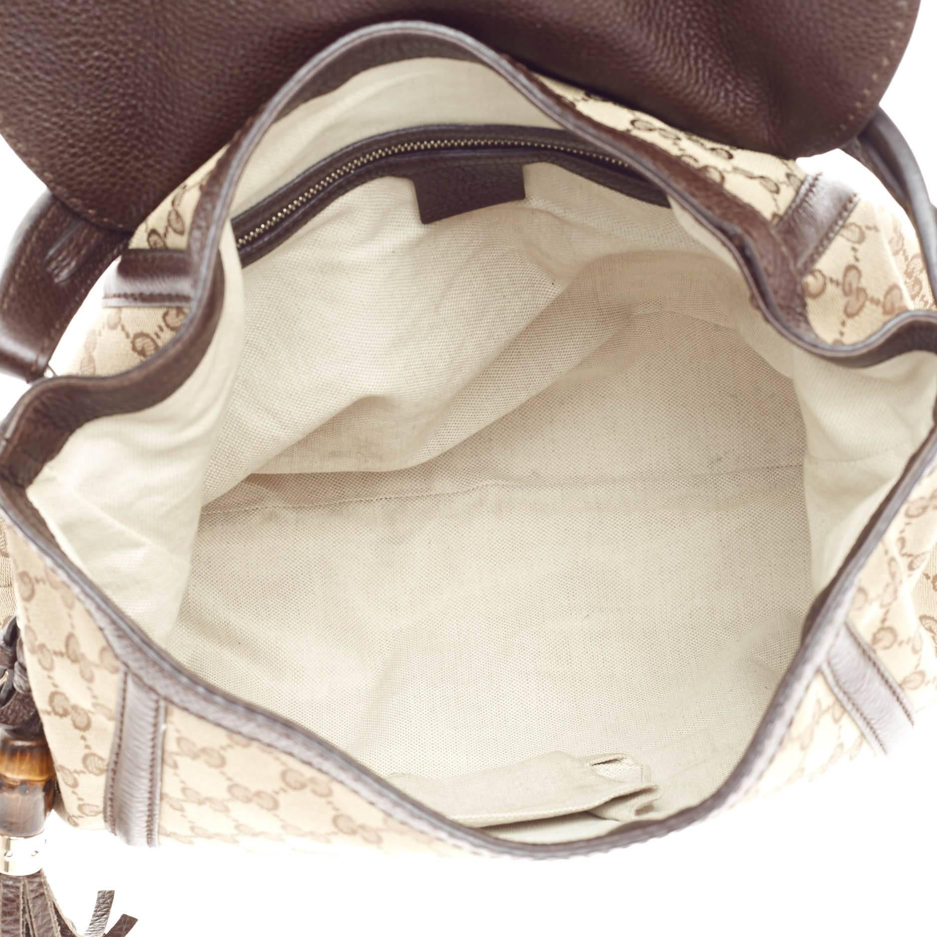 df8e39eed714 Gucci Techno Horsebit Flap Hobo Leather and GG Canvas Large at 1stdibs