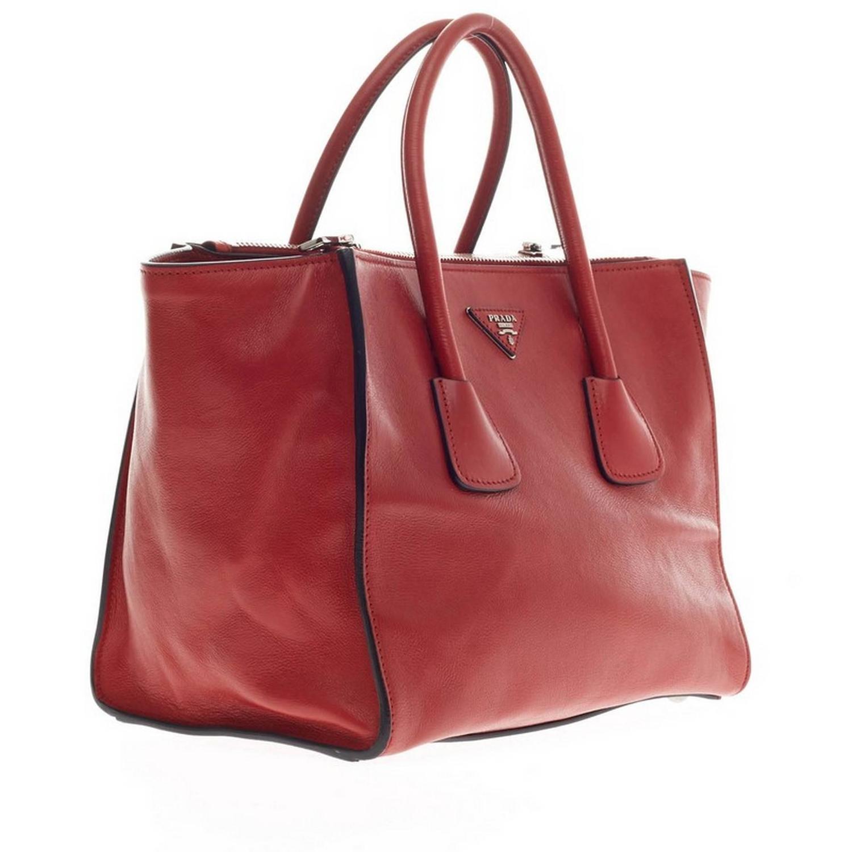 imitation prada - prada glace calf double zip tote, fake prada handbags