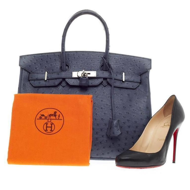 4682d236eb6 ... inexpensive this authentic hermes birkin bleu roi ostrich with  palladium hardware 35 stands as one of