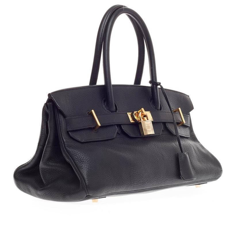 handbag with h on it - Hermes Birkin JPG Black Clemence with Gold Hardware 42 at 1stdibs