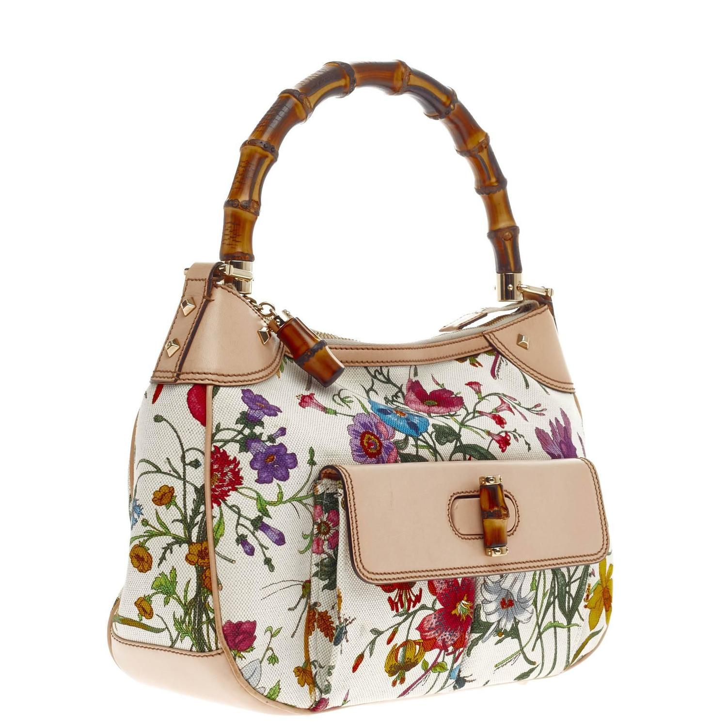 Gucci Bamboo Front Pocket Shoulder Bag Flora Canvas at 1stdibs