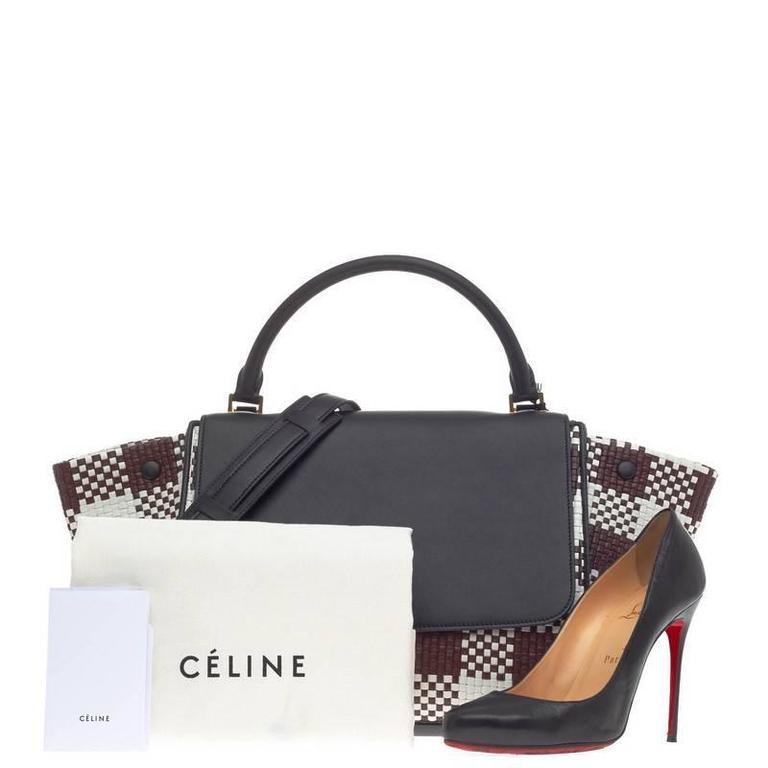 Celine Trapeze Woven Leather Medium 2
