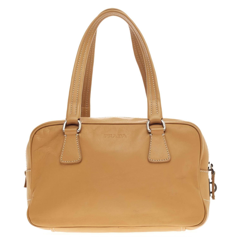 small prada handbags - Prada Semitracolla Bowler Bag Vitello Daino at 1stdibs