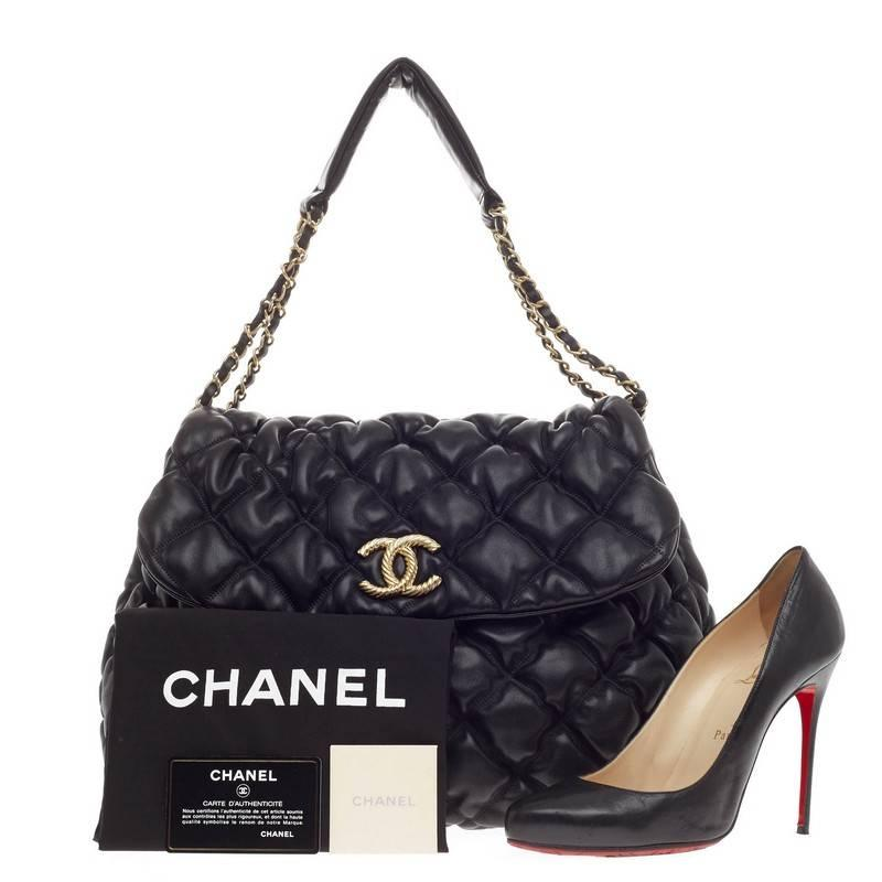 f85988745fdc85 Chanel Bubble Quilt Flap Accordion Flap Lambskin at 1stdibs
