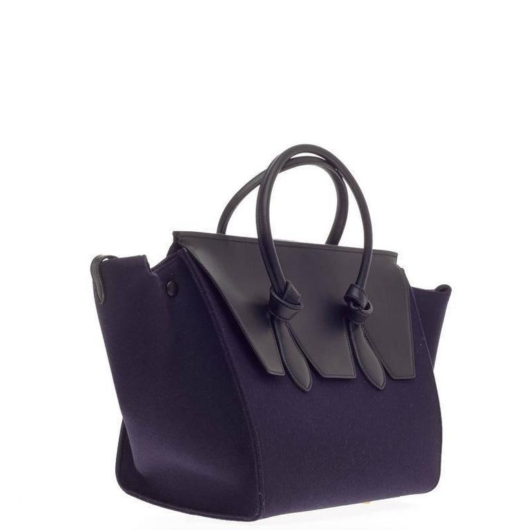 Celine Tie Knot Tote Leather and Felt Small In Good Condition For Sale In New York, NY