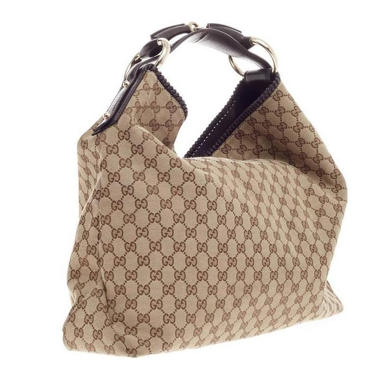 597f839dc858a7 Gucci Horsebit Hobo GG Canvas Large In Good Condition For Sale In New York,  NY