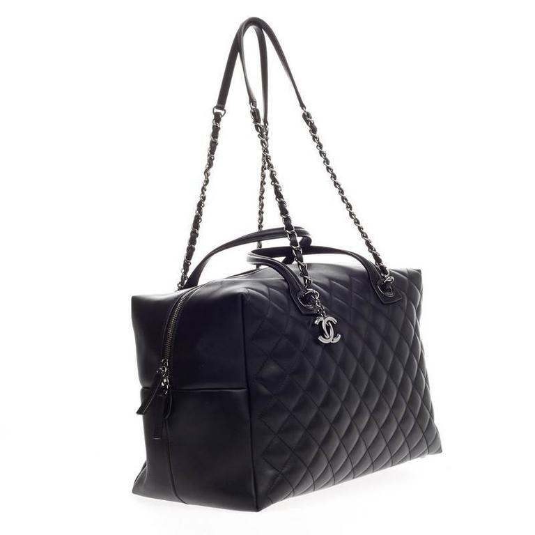 f539bc00935a Chanel Feather Weight Bowling Bag Quilted Calfskin Large In Good Condition  For Sale In New York