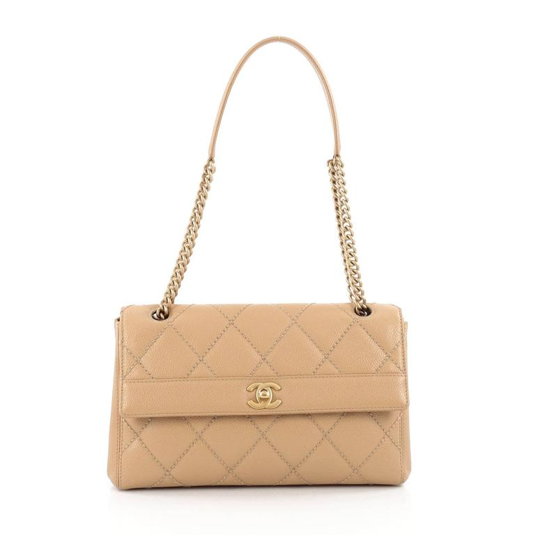 f26ef21c4f3e Chanel Vintage Aged Chain CC Lock Flap Bag Quilted Caviar Small For Sale