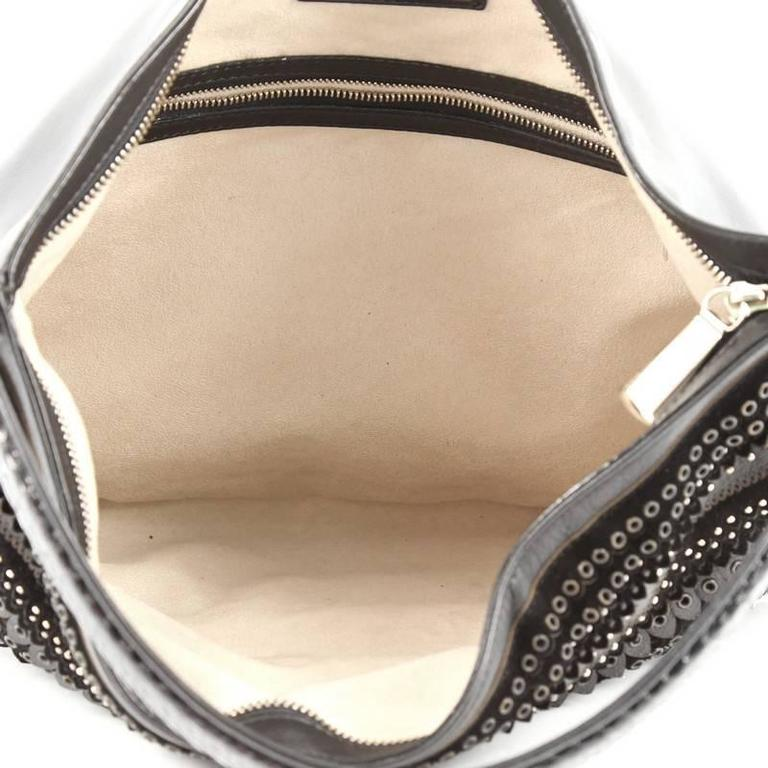 Jimmy Choo Zoe Hobo Embellished Mixed Media For Sale 1