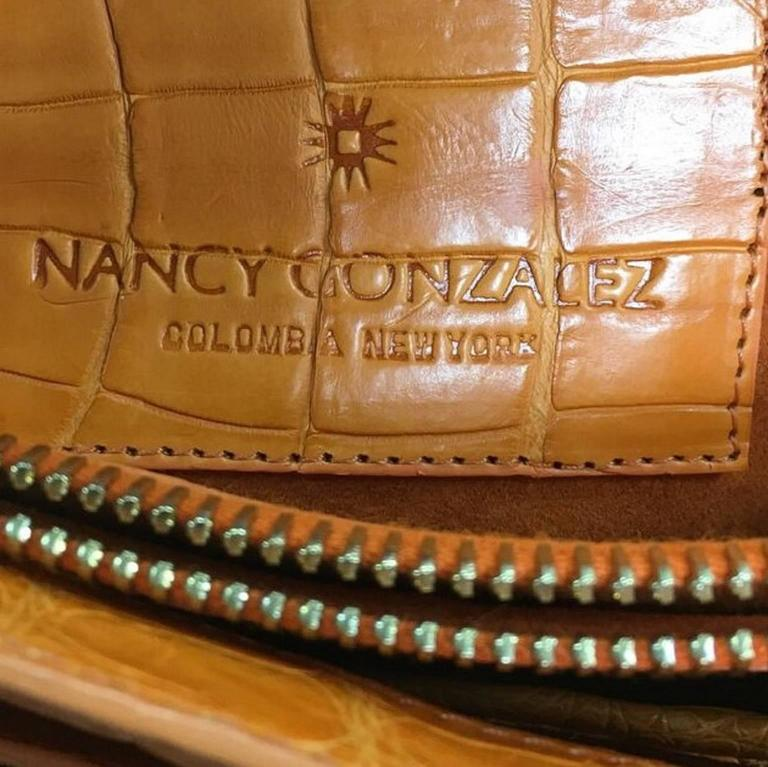 Nancy Gonzalez Chain Flap Shoulder Bag Lizard and Crocodile Medium For Sale 2