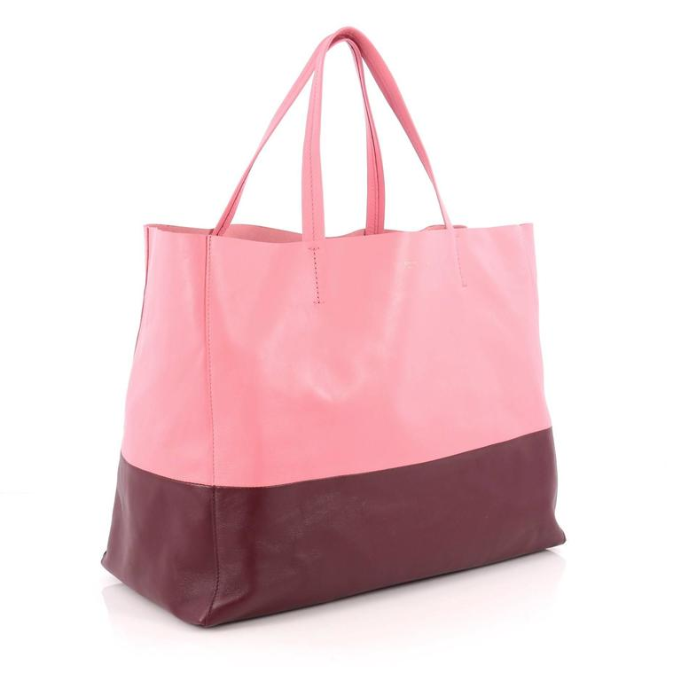 Pink Celine Horizontal Bi-Cabas Tote Leather Large For Sale