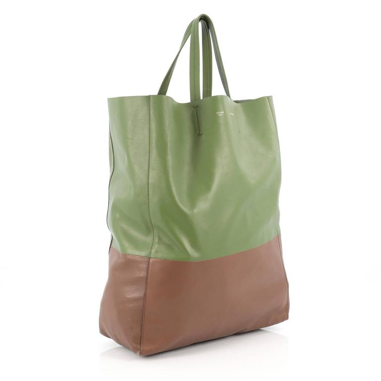 Brown Celine Vertical Bi-Cabas Tote Leather Large For Sale