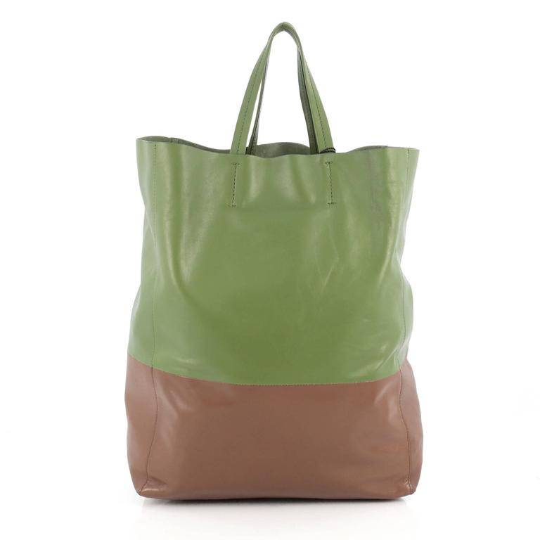 Celine Vertical Bi-Cabas Tote Leather Large In Good Condition For Sale In New York, NY