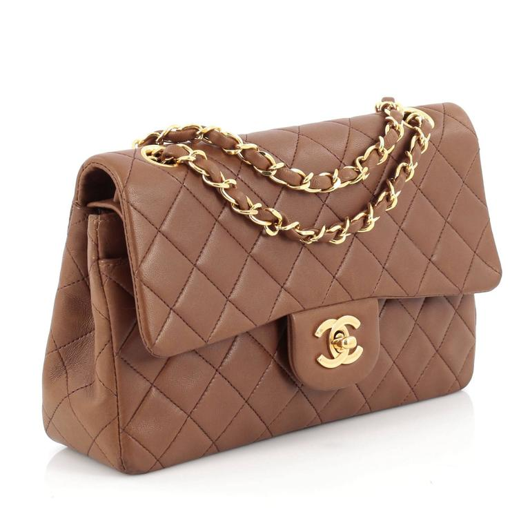 1f0a54938838ff Brown Chanel Vintage Classic Double Flap Bag Quilted Lambskin Medium For  Sale