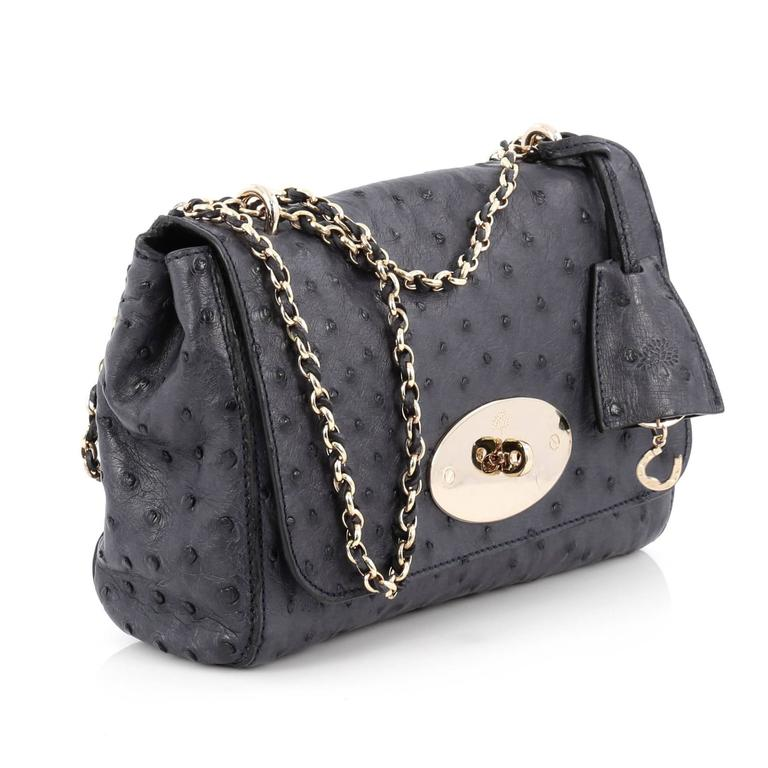 Black Mulberry Lily Chain Flap Bag Ostrich Smallv For