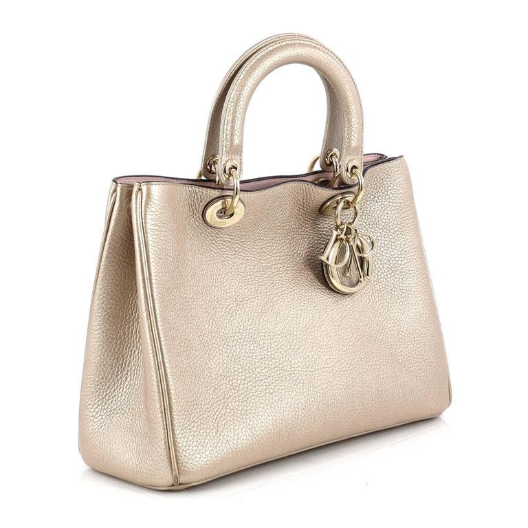 988d680e5a Beige Christian Dior Diorissimo Tote Pebbled Leather Medium For Sale